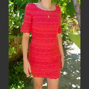 Red Coral Eyelet Lace Mini Dress